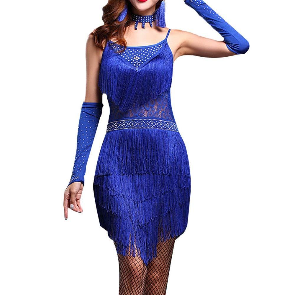 Bleu X-grand Robe de danse femme Femmes Floral Dentelle Tassel Robe De Danse Latine Outfit Perlée Robe à Franges Flapper Adulte Adulte Rumba Tango Danse Salle De Danse Perforhommece Sur Scène Robe de danse