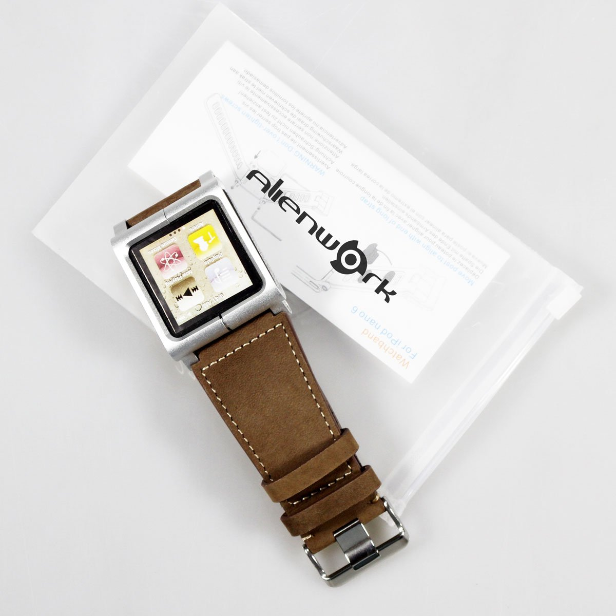 4f35fbdba0dea Alienwork Pod2Watch Armband für iPod nano 6 Watchband Uhr-Kits Aluminium  braun AN608-02
