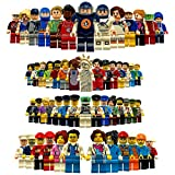 Brick Minifigures Sets, DIY Building STEM Toys Birthday Party Supplies, Roleplay Different Characters Community Minifigures | 55PCS & Over 30 Professionals & 13 Sportsmen | Kids Age 5+