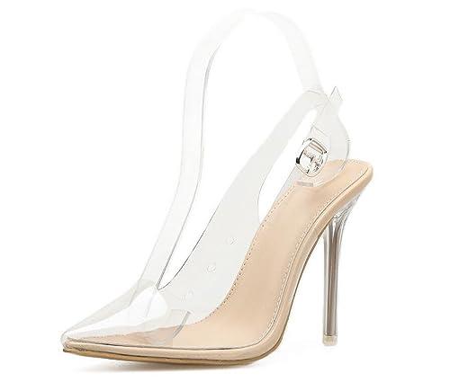 0f3d5f1d52eec Zapatos de Mujer PVC Primavera Verano Zapatos Transparentes Sandalias  Tacones Hebilla para Fiesta Informal Fiesta y Noche Blanco  Amazon.es   Zapatos y ...