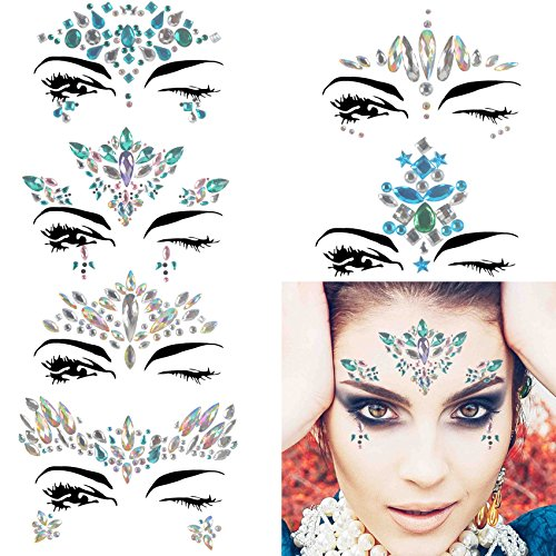 COKOHAPPY 6 Sets Rhinestone Mermaid Face Jewels Tattoo - BODY STICKERS Crystal Tears Gem Stones Bindi Temporary Stickers (Collection 4) for $<!--$12.99-->