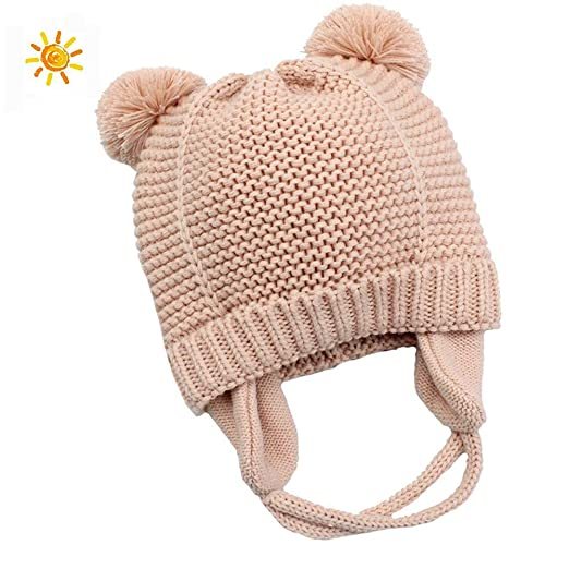 e263ca0285aeb Baby Boys Girls Beanies Warm Knitted Earflap Hats Soft Baby Caps Cute Cozy  Chunky Winter Infant