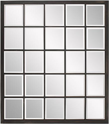 Howard Elliott Superior Hanging Rectangular Window Wall Mirror, Accent, Bronze, 34 x 38 Inch