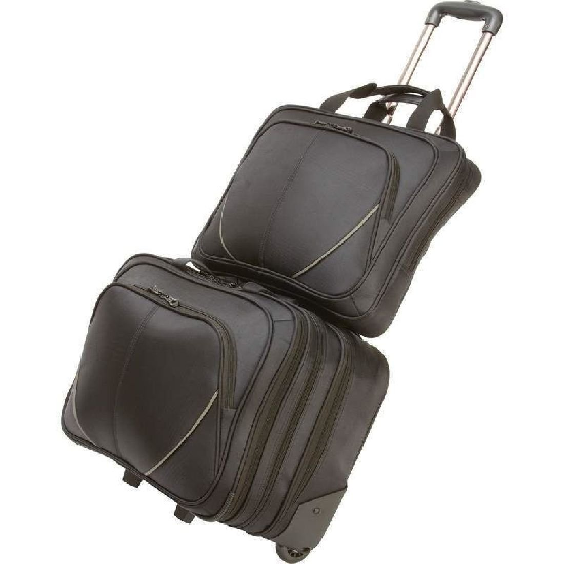 2Pc Black Rolling Carry On + Computer Notebook Bag Laptop 2 Sleeve Padded Case