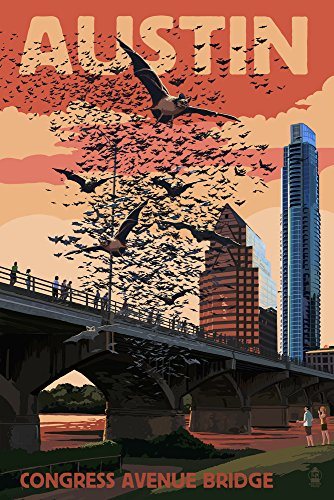 Austin, Texas - Bats and Congress Avenue Bridge (24x36 Giclee Gallery Print, Wall Decor Travel Poster) - Park Avenue Tube