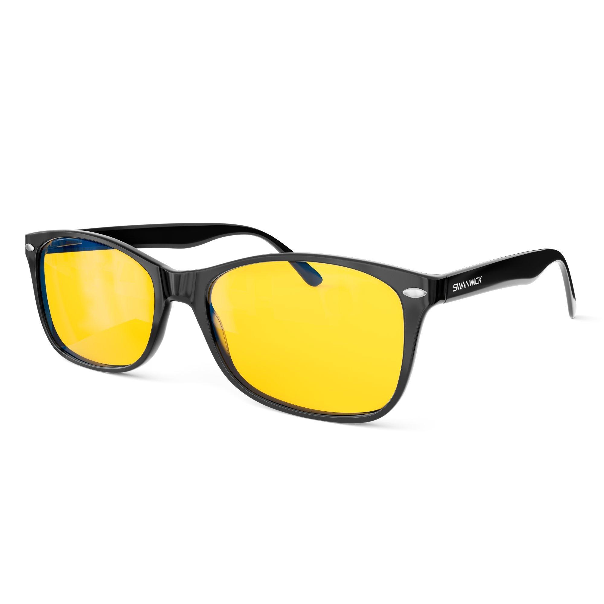 Blue Light Blocking Glasses – Swannies Gamer and Computer Eyewear for Deep Sleep - Digital Eye Strain Prevention - FDA Registered Company - Swanwick Sleep