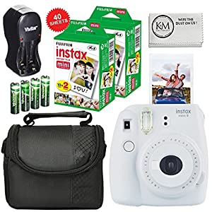 Fuji Instax Mini 9 Camera Smokey White + Carry Case + Rechargeable AA Batteries & Charger + Instax Mini Film (40 Sheets)