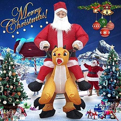 Gmxop Navidad Traje Inflable Navidad Santa Claus Mono Adulto ...