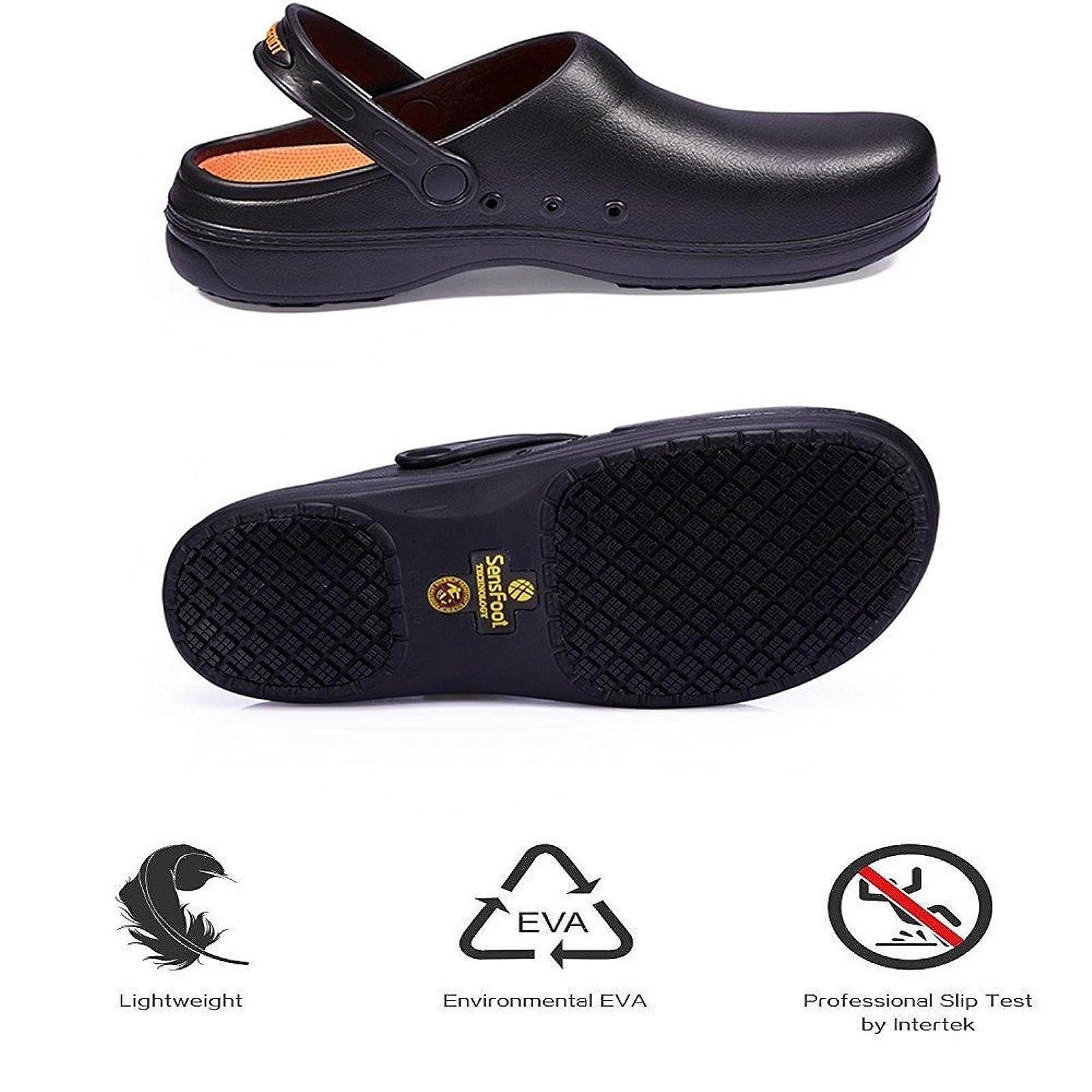 2273b0c1cc20 ... Non Slip Work Shoes Black For Men Women. Sensfoot Slip Resistant Chef  Clogs Mule - Kitchen SW08 - 1 Sensfoot Slip Resistant Chef Clogs Mule -  Kitchen ...
