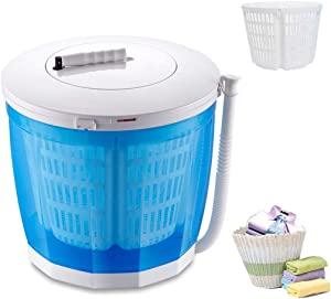 YDCW Mini Portable Washing Machine,Manual Non-Electric and Clothes Spin Dryer Compact Laundry,Stacked Washer Combo Small Semi-Automatic for Dorms Rvs Camping Etc,Blue,A (Blue)