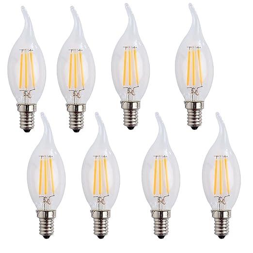 wulun01 E14 LED vela bombillas de filamento 4 W, blanco cálido (2700 K) candelabro E14 SES ...