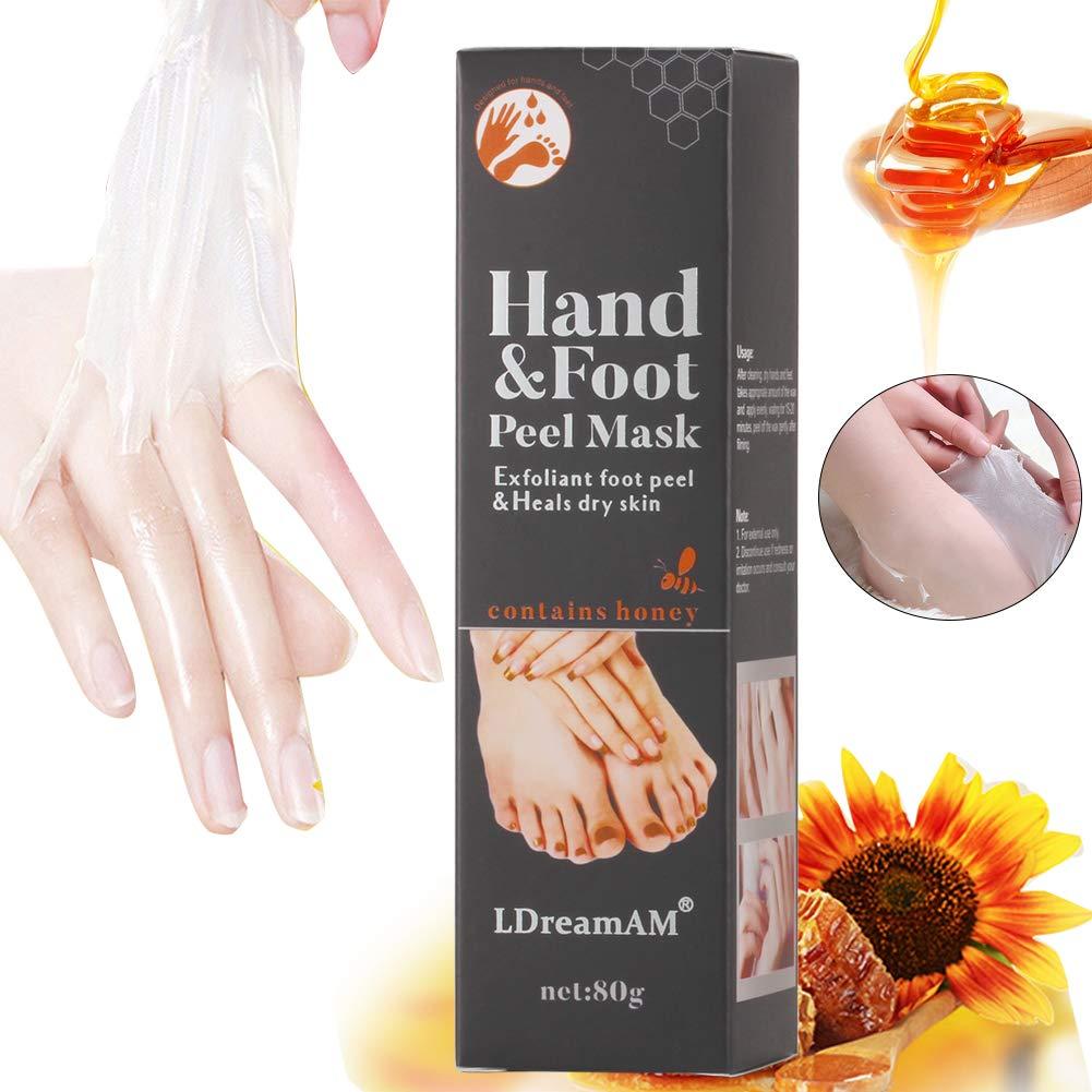 Hand Wachs,Milch & Honig Exfoliating Whitening Feuchtigkeitsspendende Hand- Fusspflege Hand Maske, Exfoliating Mask Peeling Feuchtigkeitsspendende Maske Peeling Schwielen LDREAMAM