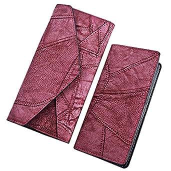 Wiwsi Stitching Lady Leather Handbag Envelope Clutch Purse Wallet Card holders(Burgundy)