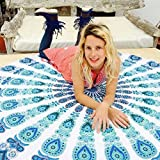 Popular Round tapestry Indian Mandala Round Roundie Beach Throw Tapestry Hippy Boho Gypsy Cotton Tablecloth Picnic…