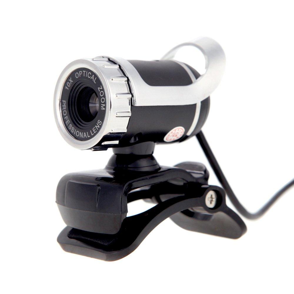 KKmoon Webcam Cámara HD USB 2, 050M Pixels 360° Ajustable con micrófono Integrado para Skype Escritorio Ordenador PC portátil Plata
