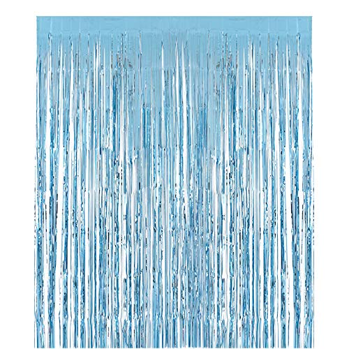 2packs 3.28x9.84ft Pearl Blue Metallic Foil Fringe Shiny Curtains for Party Birthday,Event Decorations Door Window Tinsel (Pearl Blue, 2pack)
