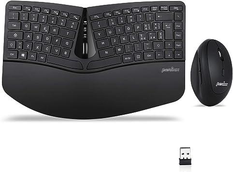 Perixx Periduo-606 - Juego de teclado ergonómico inalámbrico y ratón vertical, con reposamuñecas ajustable y teclas de membrana de perfil bajo, QWERTY ...