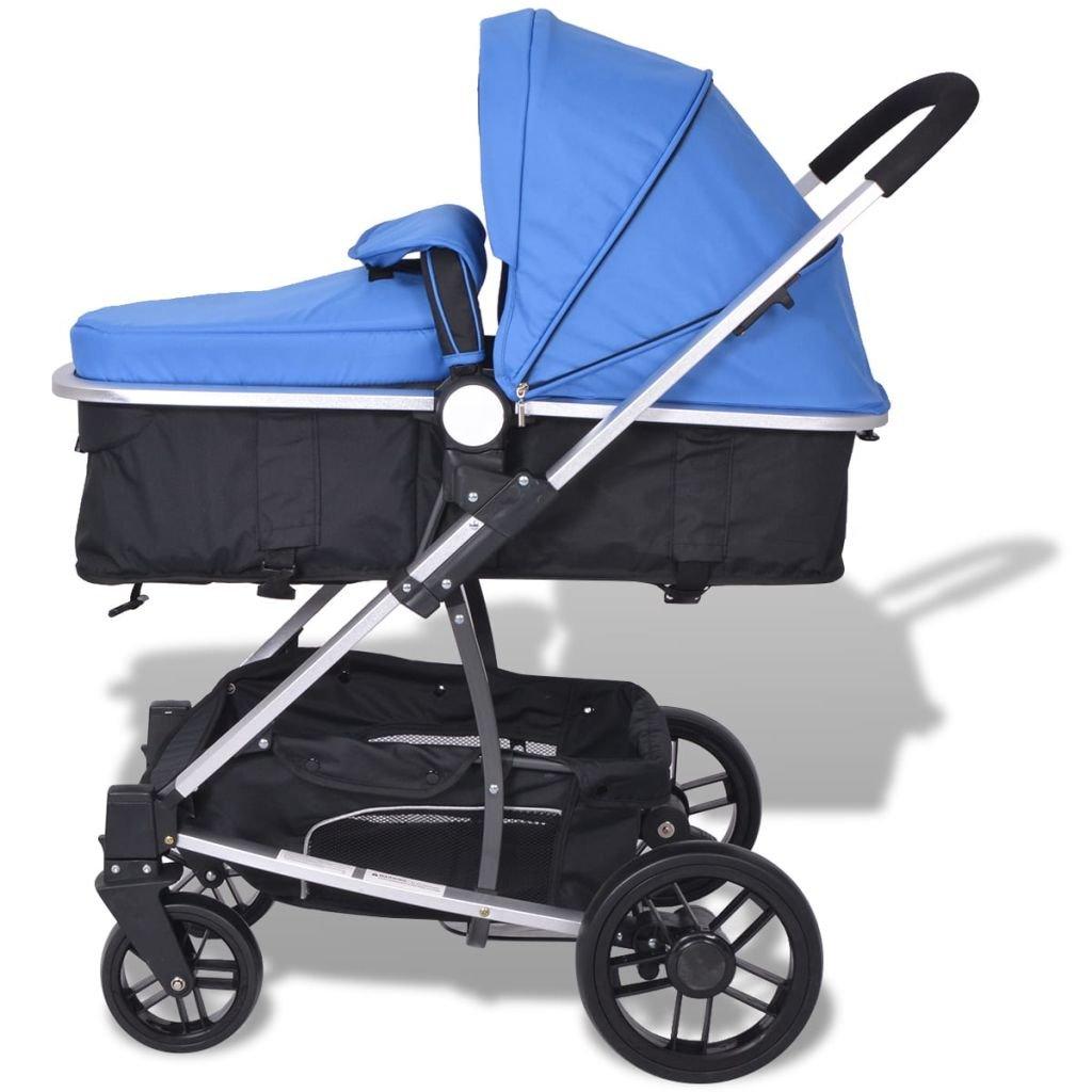 vidaXL Cochecito//Silla de Beb/é 2 en 1 Aluminio y Tela Oxford Color Azul y Negro