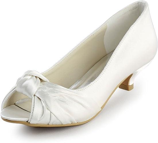 Amazon Com Elegantpark Ep2045 Women S Peep Toe Low Heel Knot