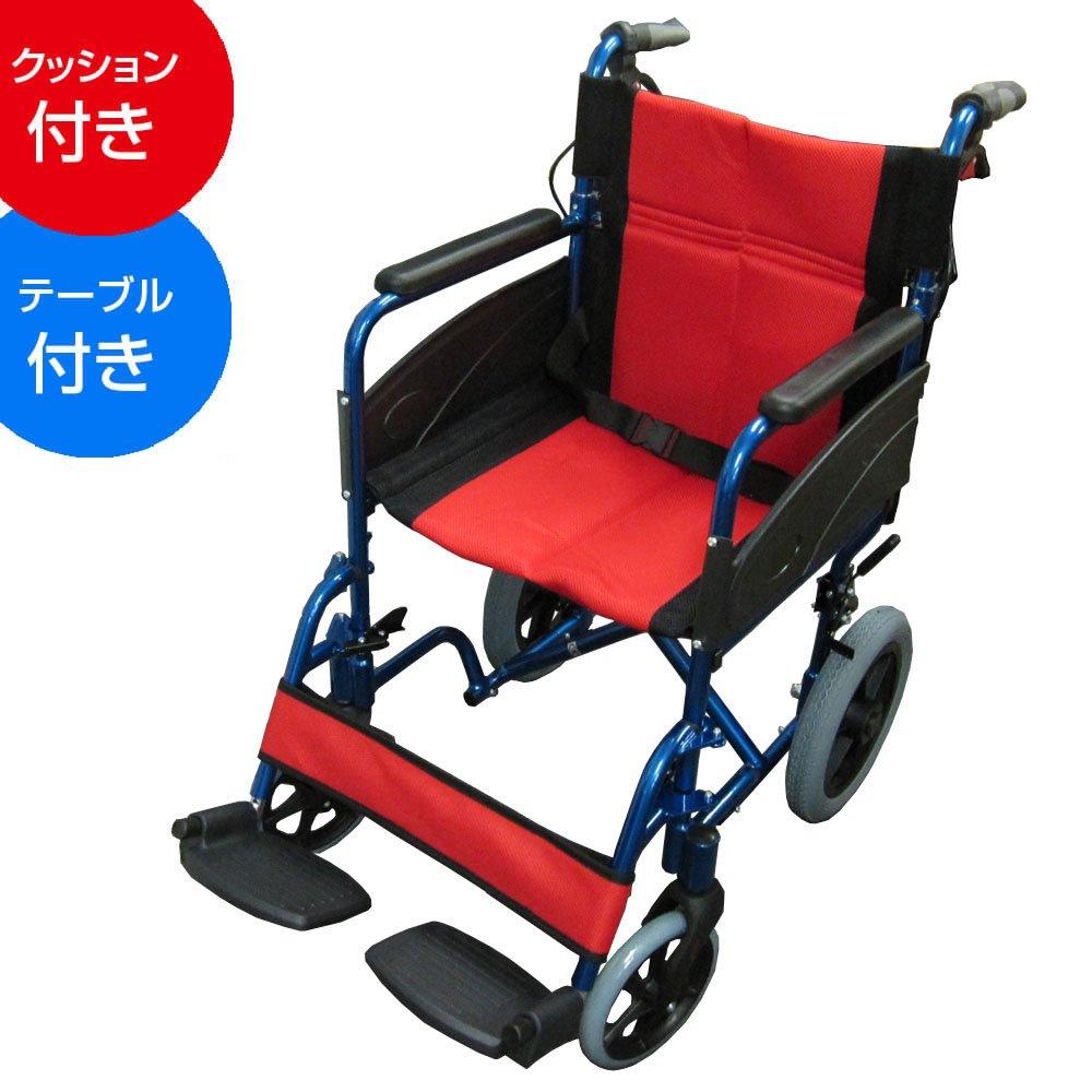 【非課税】Nice Way2(ナイスウェイ) 折りたたみ式 車椅子【座面幅約46cm】【ゆったりサイズ】【簡易式】【NW976LABJ】【介護介助用】【介助ブレーキ付き】 (クッションテーブルセット) B01LZEOJNG クッションテーブルセット クッションテーブルセット