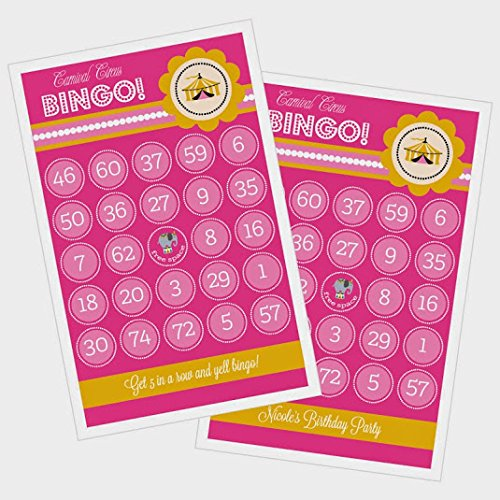 3 sets of 16 Pink Carnival Circus Bingo by Eventblossom