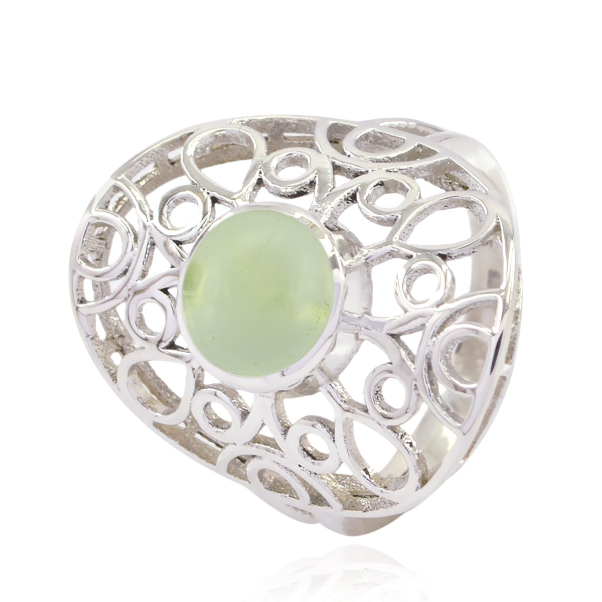 925 Silver Green Prehnite Genuine Gems Ring Home /& Living Gift for College Rings Genuine Gems Round cabochon Prehnite Ring