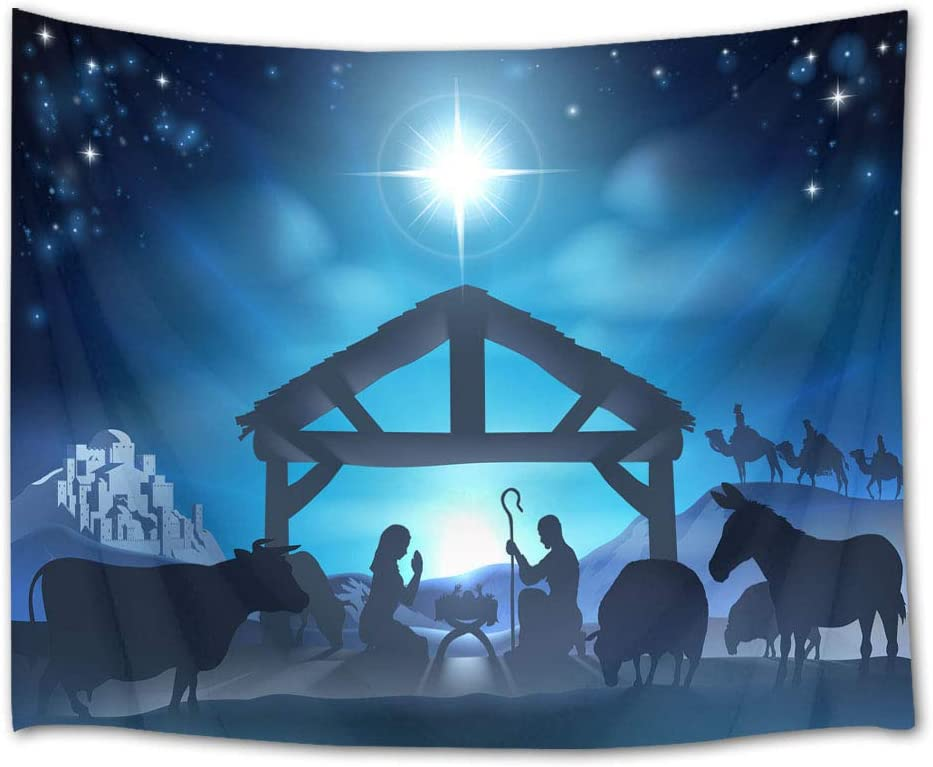 LB Christmas Jesus Nativity Tapestry Wall Hanging Venus Star Birth of Jesus Tapestry Wall Art Christian Tapestry for Bedroom Living Room Dorm Wall Decor,60 x 40 Inches