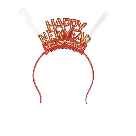 Diadema HAPPY NEW YEAR con Luz Led OULII Tiara Diadema Luminosa Navidad  Feliz Año Nuevo Nochevieja aea9e183431