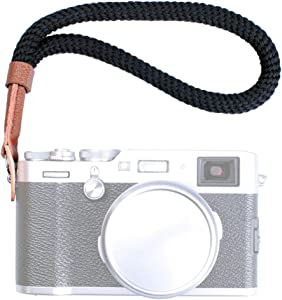 VKO Black Cotton Camera Hand Wrist Strap Compatible with Fujifilm X-T30 X-T4 X-T3 X-T20 X-T2 X70 X-Pro2 X-E3 X30 XQ2 X100F A6100 A6600 A6400 A6000 A6300 A6500 RXIR II Cameras Adjustable Safety Strap