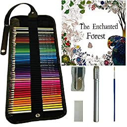 Colored Pencils for Adults & Kids, 48 Watercolor Pencils Roll Canvas Artist Set, Best for Adult Coloring Books - FREE Coloring Book, Sharpener, Extender, Blending Brush, Eraser, Coloured Pencils