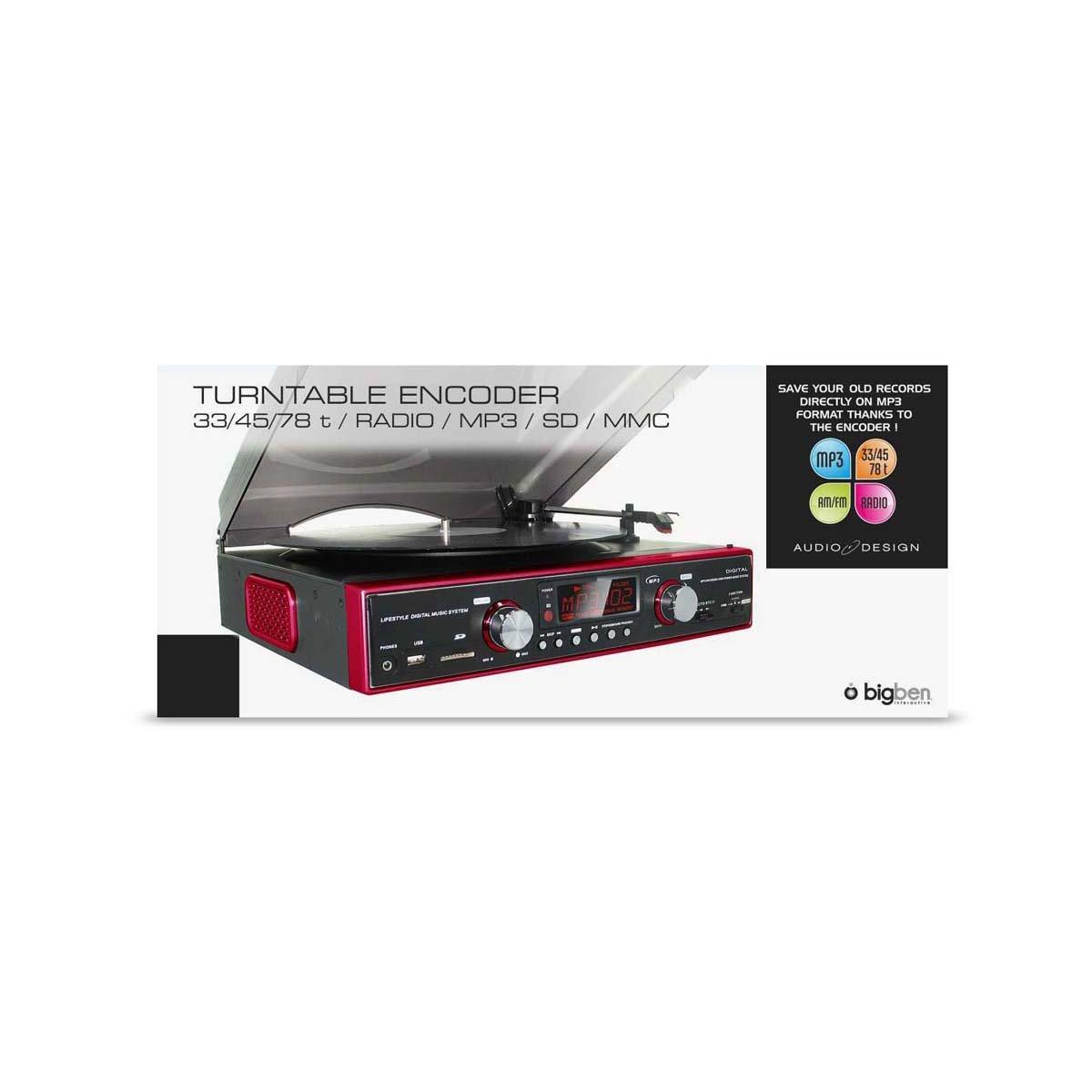 BigBen Interactive - Tocadiscos (con radio, USB, SD y grabador ...