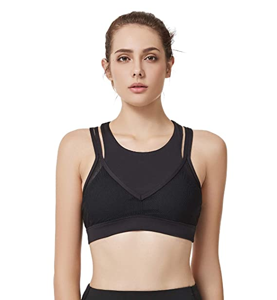 adf3304f4d56d Yvette Sports Bras Mesh Covered High Impact Removable Pads Double Layer  Multiple Straps Workout Bra w Body Measuring Tape at Amazon Women s  Clothing store