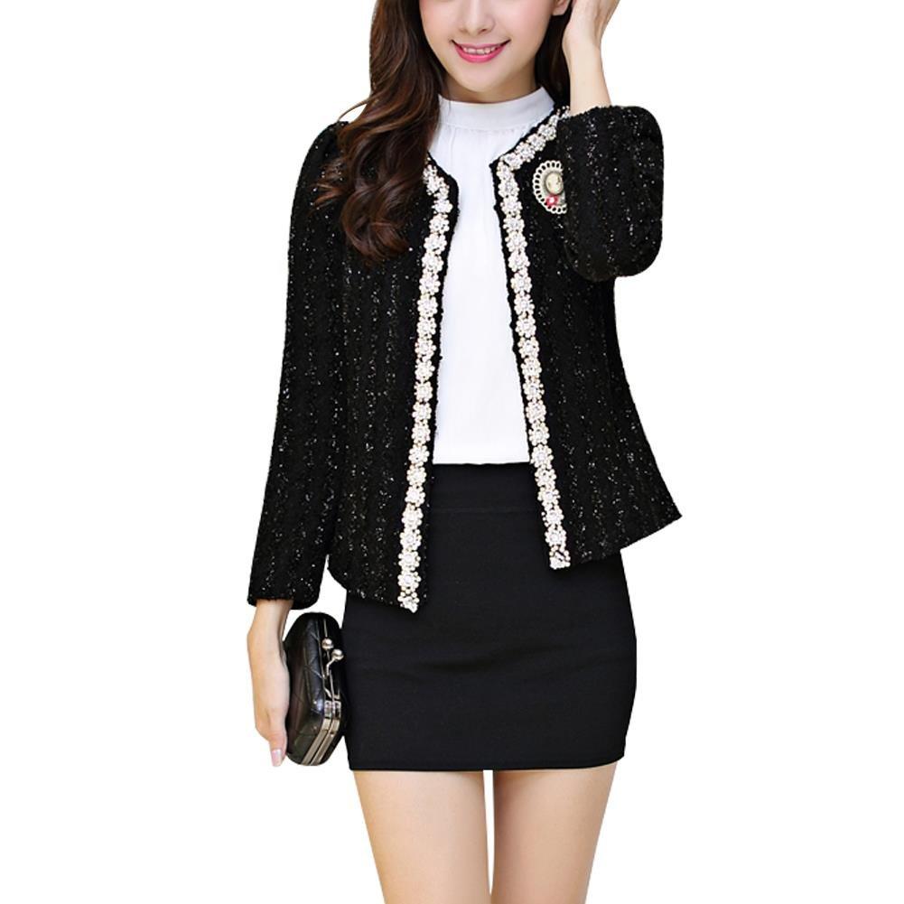 NJunicorn Uncle Women Tweed Sequin Inlaid Long Sleeved Blazer Fly Away Fringe Jacket Coat Outwear(Black 8/10)