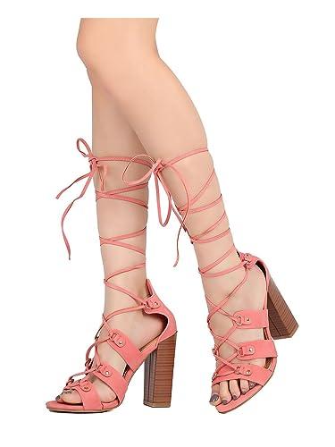 2dfb5753109 Alrisco Women Nubuck Open Toe Lace Up Ankle Wrap Block Heel Sandal HB42 -  Off Pink