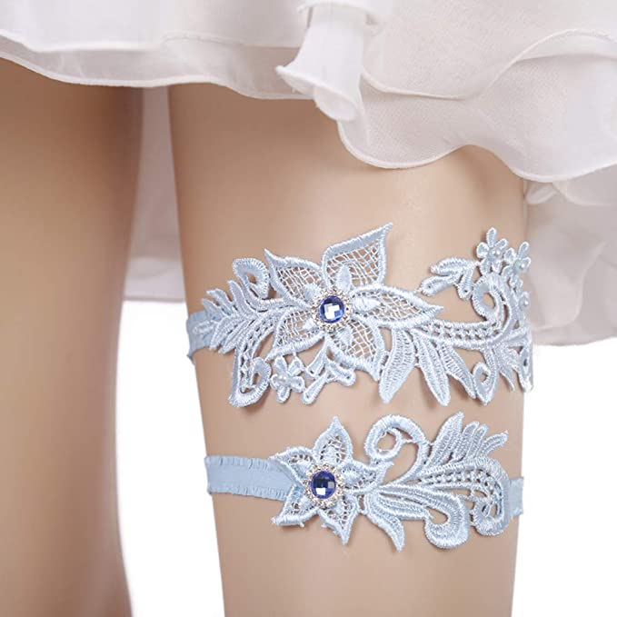 1 unidad estilo de hoja de flores cintur/ón de encaje para boda 2 unidades accesorios de boda Blanco . Juego de ligas de encaje para novia el/ástico azul ajustable