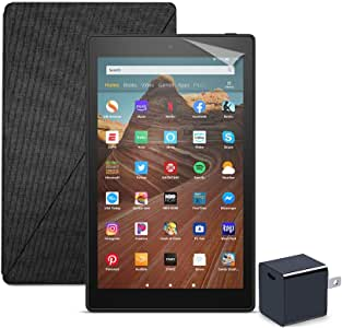 Fire HD 10 Tablet (32 GB, Black, With Special Offers) + Amazon Standing Case (Charcoal Black) + Nupro Screen Protector (2-pack) + 15W USB-C Charger