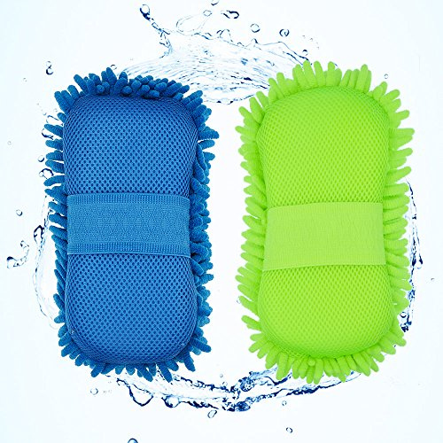 AVA Prime (2 Pack)Chenille Microfiber Premium Car Wash Mitt with Sponge,Lint Scratch Free-Ultra Soft Cleaning Mitt with Hand Strap