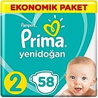 Prima Bebek Bezi Yeni Bebek 2 Beden Mini Ekonomik Paket, 58 Adet