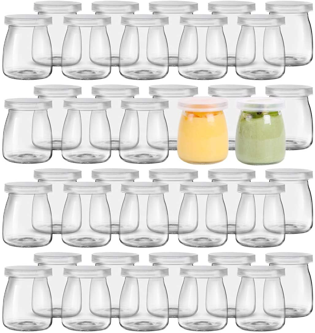Kingrol 40 Pack 5 oz Glass Jars with Lids, Replacement Pudding Yogurt Jars, Glass Food Storage Containers for Jams, jellies, Honey, Desserts, Party Favors