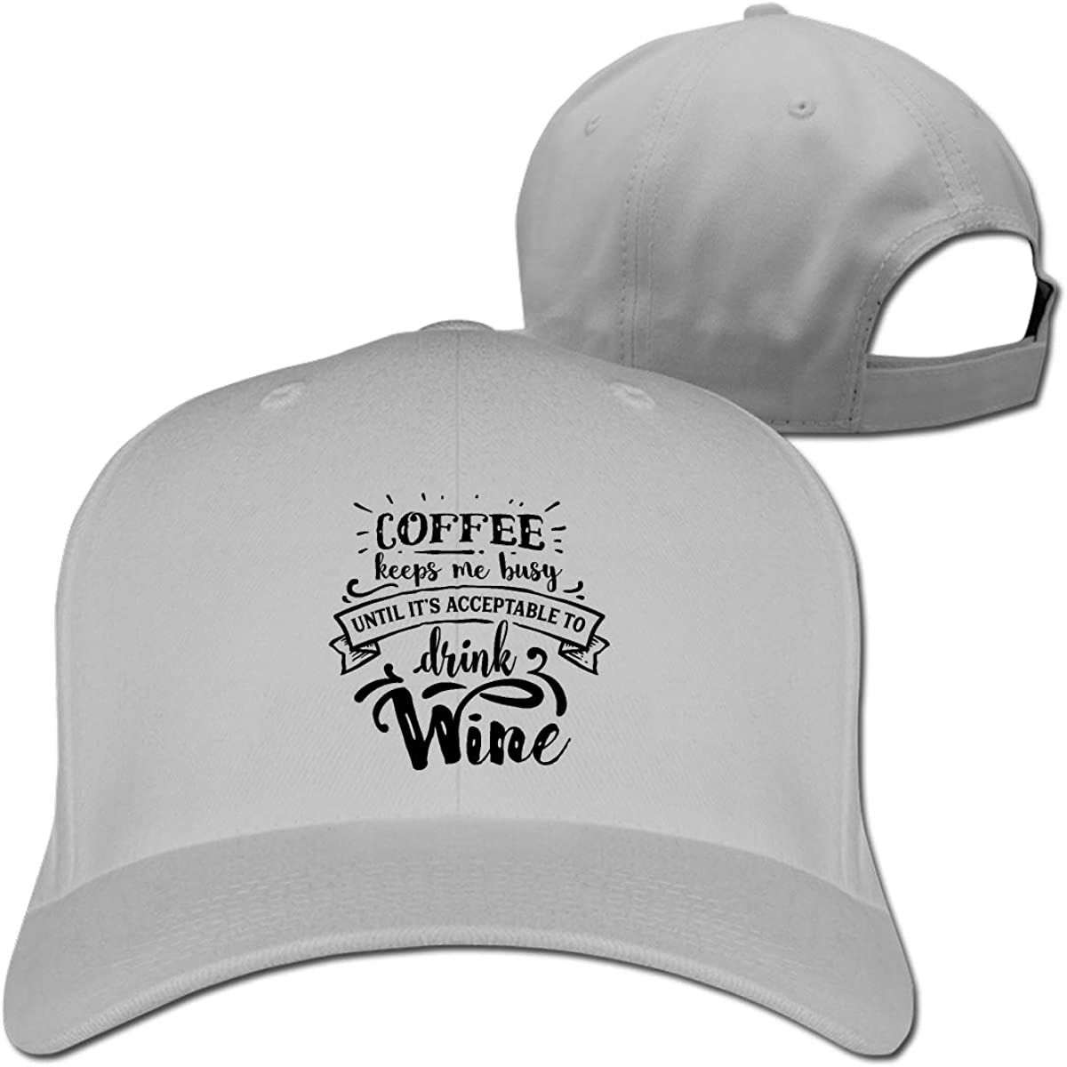 Coffee Now Wine Later Fashion Adjustable Cotton Baseball Caps Trucker Driver Hat Outdoor Cap Gray