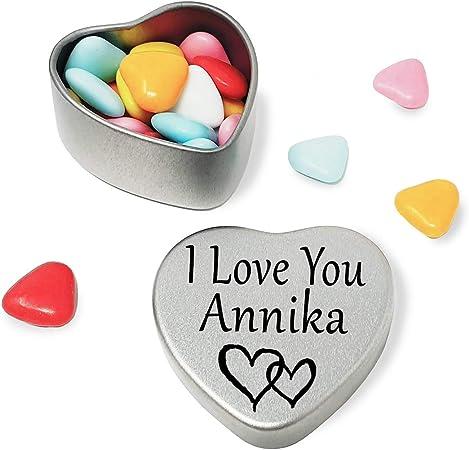 I Love You Anika Mini Heart Tin Gift For I Heart Anika With Chocolates