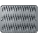 LIMNUO Silicone Dish Drying Mat,Easy Clean Dishwasher Safe Heat Resistant Eco-Friendly Trivet Gray