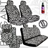 Brand New Yupbizauto Brand Premium Grade Zebra Print Front and Rear Seat Covers Set with Steering Wheel Cover, Seat Belt Covers, a Set of 4 Floor Mats and Travel Size Purple Slice Total 16 Pieces