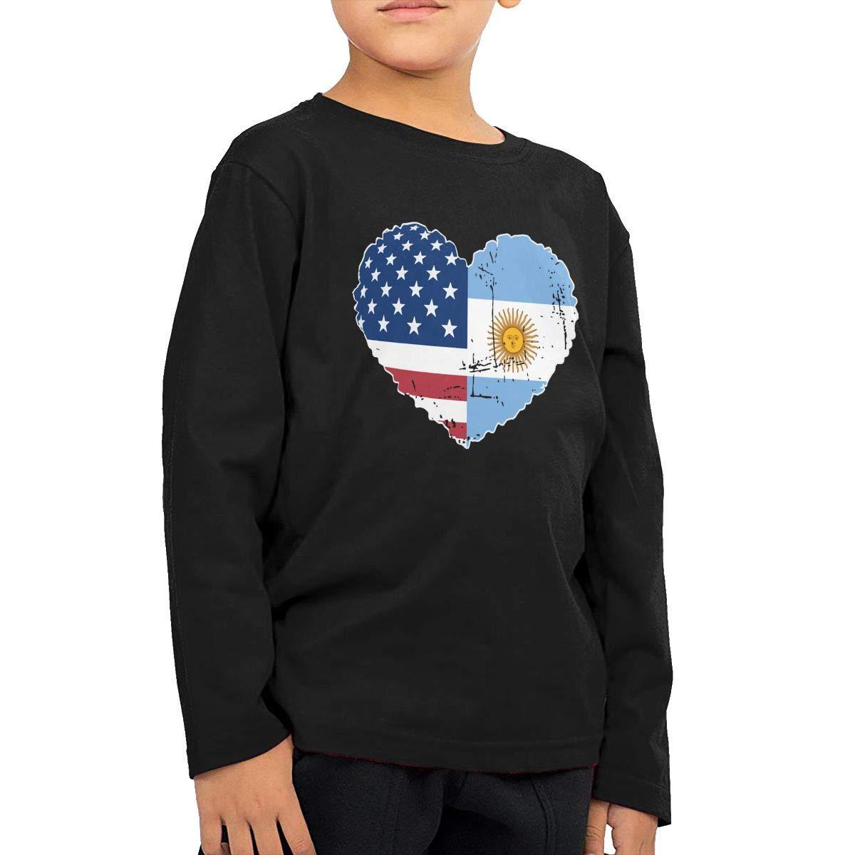 CERTONGCXTS Baby Boys Kids Argentina USA Flag Heart ComfortSoft Long Sleeve Tee