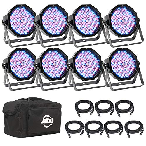 American Dj Stage System - American DJ ADJ Mega Flat Pak 8 Plus LED Mega Par Profile System w/ Bag + Cables