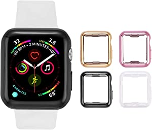 Tranesca 4 Pack 38mm Apple Watch case with Built-in HD Clear Ultra-Thin TPU Screen Protector Cover for Apple Watch Series 2 and Apple Watch Series 3 38mm - 4 Pack (Clear+Black+Gold+Rose Gold)