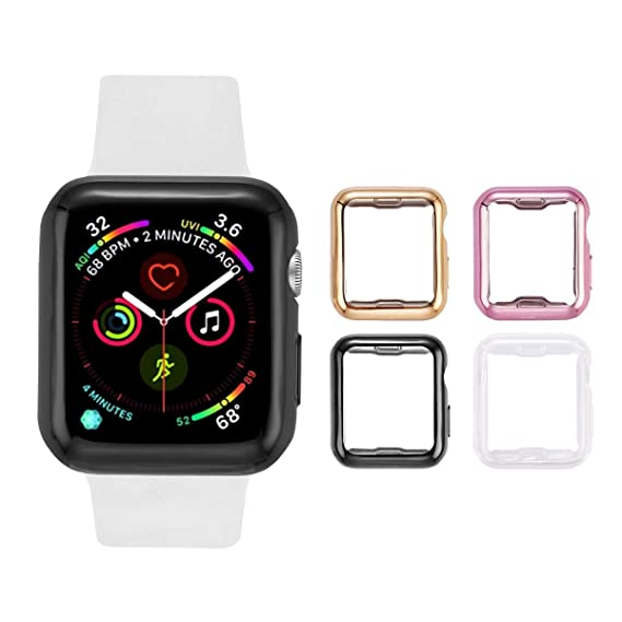new concept 65e49 2e1f0 Tranesca Apple Watch case with Built-in TPU Screen Protector for 38mm Apple  Watch Series 2 and Apple Watch Series 3-4 Pack (Clear+Black+Gold+Rose ...