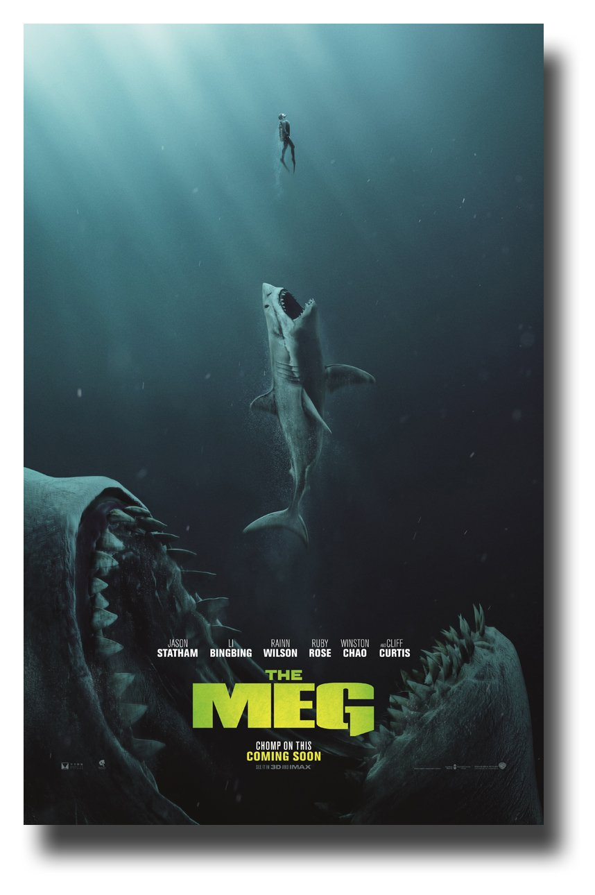 The Meg Poster Movie Promo 2018 11 x 17 inches Megalodon Bites