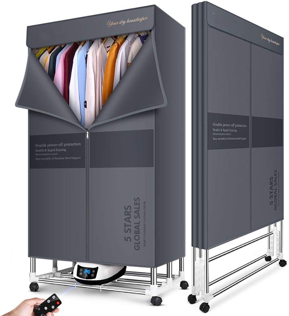 Dryer PIGE Secadora eléctrica doméstica Secadora portátil de 1500W: Temperatura Constante Inteligente y Modo de Secado rápido con Temporizador + Estante de Secado de esterilización con Control Remoto