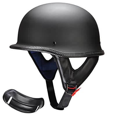 AHR DOT German Style Motorcycle Half Helmet Open Face Cruiser Chopper Biker Skull Cap Helmet Black L: Sports & Outdoors